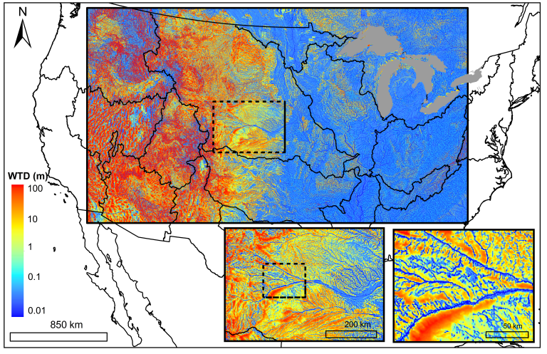Simulated Water Table Depths from Maxwell et al. 2015